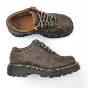 Dr Martens brown leather 6 Eye chunky Oxfords